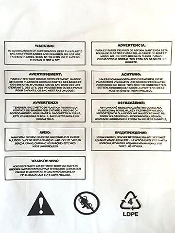 100x ersticken Warnung, selbst Seal, Polybeutel klar 1,6Mil/40Mikron, 9Sprachen, langlebig