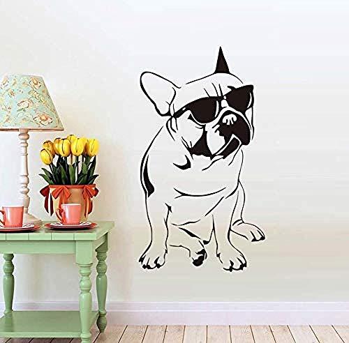 Schlafzimmer Wandaufkleber Hübsche Französische Bulldogge Mit Sonnenbrille Wandaufkleber Für Kinderzimmer Dekorative Tier Vinyl Aufkleber Schlafzimmer Wand Decorations77X45Cm