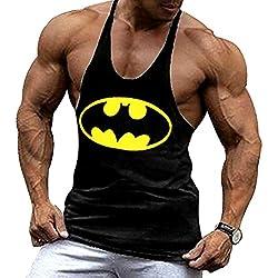 A. M. Sport Camisa Camiseta Hombre Tirantes Culturismo Fitness Deportiva. Ropa Deporte Masculina Para Entrenar Gym (Batman Negra) XL