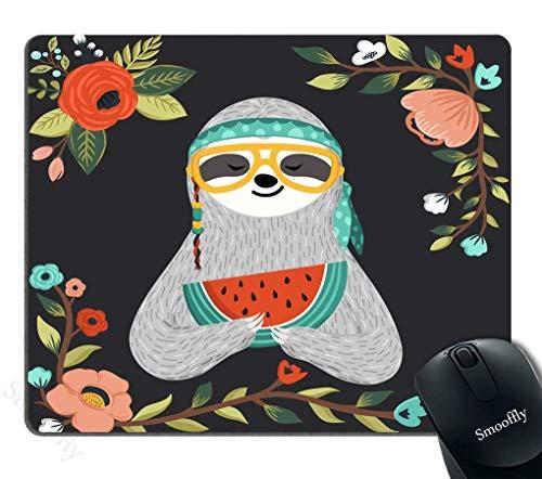 Mousepad für Gaming Cute Baby Faultier Essen Wassermelone Mauspad Funny Hippie Faultier hält Wassermelone Scheibe Persönlichkeit Desings Gaming Mauspad Hipster Tier Tragen Brille und Bandana