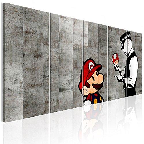 decomonkey | Bilder Banksy 225x90 cm XXL | Leinwandbilder | Vlies Leinwand | Wand | Bild auf Leinwand | Wandbild | Kunstdruck | Wanddeko Streetart Mario Graffiti Stein Grau