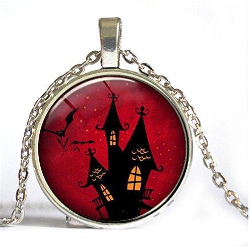 HIJONES Schmuck Kinderzeit Gem Cabochon Halloween Mitternacht Haus Pattern Hängende Anhänger Ketten, Rot, Silber