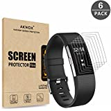 (Pack of 6) Fitbit Charge 2 Screen Protector, Akwox [HD Clear][Anti-Glare][Anti-Bubble] Full Coverage TPU Screen Protective Film for Fitbit Charge 2
