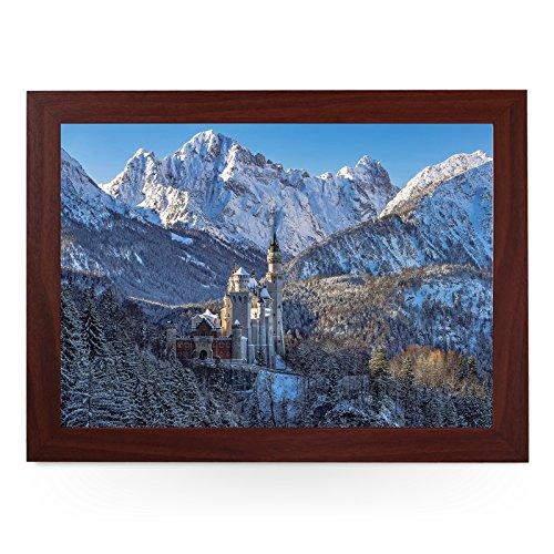 Tragbares Knietablett (Neuschwanstein Schloss Winter) Handgefertigter Holzrahmen, gepolsterter...