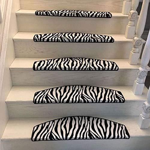 Zebra Escalier Couverture Léopard Escalier étape Mat Colle Libre Auto-adhésif Escalier Protection Tapis étape Tapis Anti-dérapant Tapis 6 Pièces,80 * 24 * 3cm