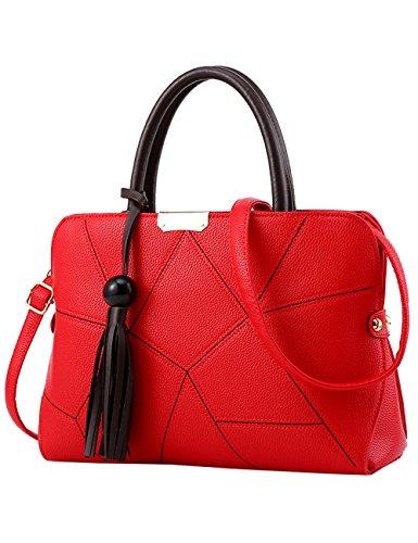 Menschwear Leather Tote Bag lucida PU nuove signore borsa a tracolla Viola Rosso