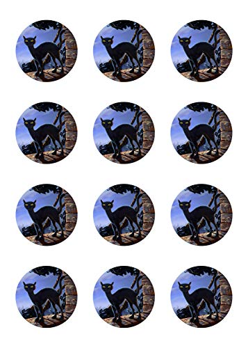 Muffinaufleger Cupcakes Muffins Halloween Zuckerpapier schwarze Katze HW06