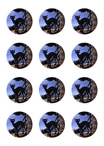 Muffinaufleger Cupcakes Muffins Halloween Zuckerpapier schwarze Katze HW06 (Schwarze Halloween Cupcakes Katze)