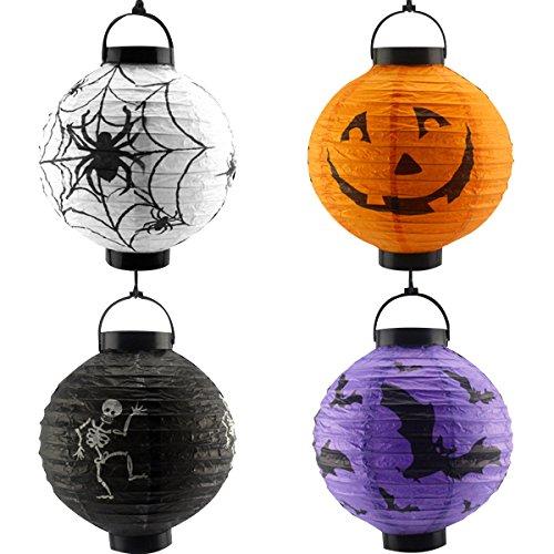 VORCOOL Halloween Papierlaternen, Dekoration, LED, Kürbis Spinne, Bat Skelett, leicht, Zum Aufhängen, rund, 4 Stück