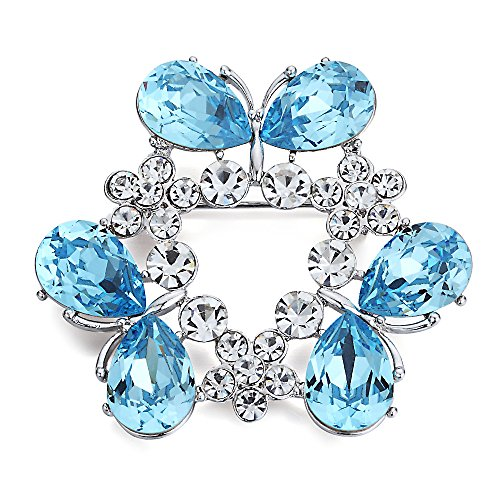 SWAROVSKI ELEMENTS AGUAMARINA FANTAISIE BROCHE