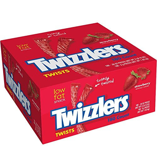 Twizzlers, Individually Wrapped Strawberry Twists, 180-Count 0.31 oz each, net wt. 3 lb. 9 oz. by Twizzlers