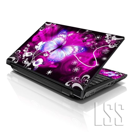 Lss 15 15 6 Inch Laptop Notebook Skin Sticker Cover Art Decal Fits 13 3 14 15 6 16 Hp Dell Lenovo Apple Asus Acer Compaq Free 2 Wrist Pad Included Purple Butterfly Floral