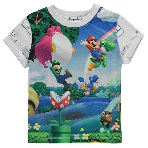 Character Kinder Jungen T Shirt Kurzarm Rundhals Print Freizeit Regular Fit Nintendo 7-8 Yrs