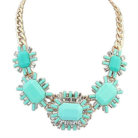 Aooaz Womens Bohemian Statement Necklace Vintage Love Long Choker Necklace CZ Crystal Blue Chain