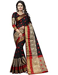 satyam weaves women's ethnic wear polycotton saree. (mango)