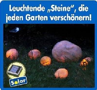 6 Solar LED Leuchtsteine mit Solarpanel & Lichtsensor Solarleuchten Leuchtstein von GHZ - Lampenhans.de