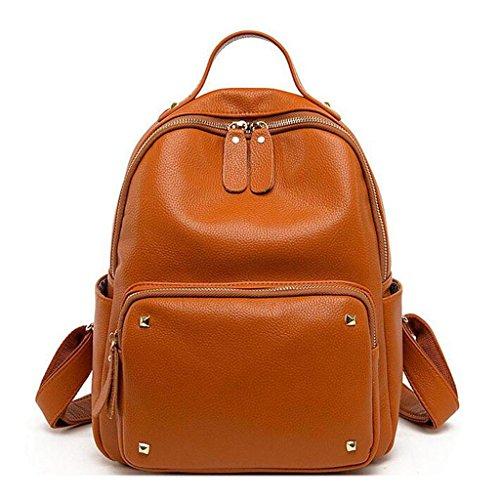 Y&F Leder Schultertasche Nietrucksack Student BeiläUfige Tasche Reisetasche 27 * 14 * 31 Cm Yellow