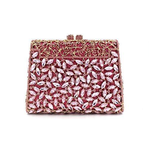 Borse Sera Signora frizioni Sera Borse Tracolla Metal Rose fiori scolpiti Luxury Dinner Party serata colorata ricamo borsa di catena Red