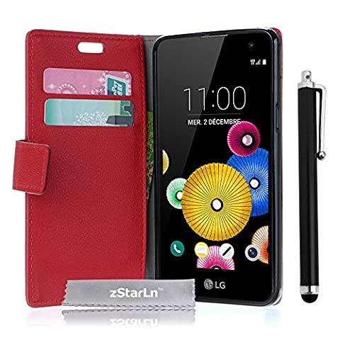 zStarLn® rouge Luxe Portefeuille Etui Housse pour LG K5 Coque en PU cuir + 3 Films en Stylet Touch Pen