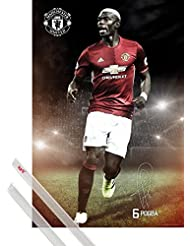 Póster + Soporte: Fútbol Póster (91x61 cm) Manchester United, Pogba 16/17 Y 1 Lote De 2 Varillas Transparentes 1art1®