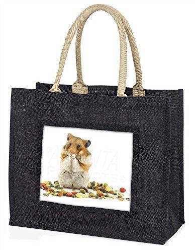 Lunch Box Hamster Große schwarze Jute -Einkaufstasche Weihnachtsgeschenk