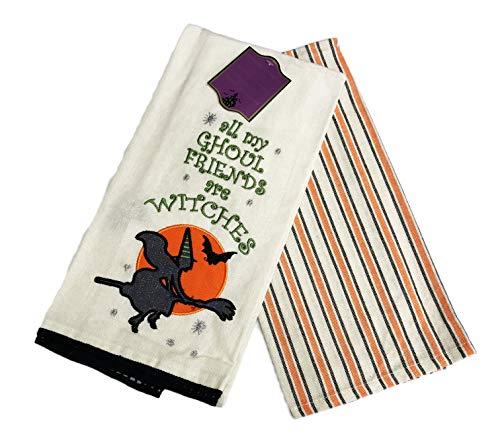 Moonlight Manor All My Ghoul Friends Sind Hexen Bestickt Set Zwei Happy Halloween Themed Dekorative Küche Handtücher