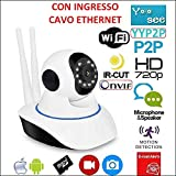 TELECAMERA IP CAMERA HD 720P WIRELESS LED IR LAN MOTORIZZATA WIFI RETE INTERNET 2 ANTENNE