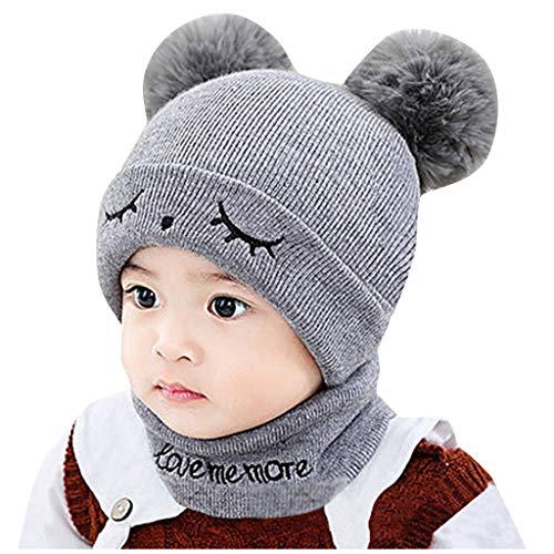 LILIGOD Neugeborene Baby Beanie Strickmütze Kinder Jungen Mädchen Wintermütze Pompon Hut Winter Warme Strickmütze Häkeln Mütze Schal