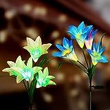 Tvird Solarleuchte Garten 4-Head 2 Packung Solar Garten Lampen Lilie Blumen Solarlicht mit Farbwechsel LED Lampen, Außen Dekoration Lichter für den Garten/Rasen/Feld/Terrasse/Weg