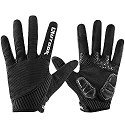 KUTOOK Men's Cycling Gloves With Gel Full Finger MTB Cycling Gloves (Black, L)