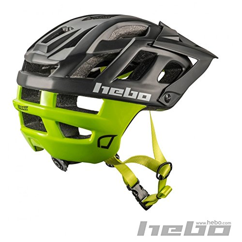 HEBO Casco Bici Crank 1.0, Negro y Verde, 55-58 cm