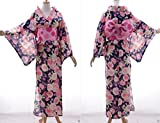 K-73 violett lila Blumen ORIGINAL Japan Damen Kimono YUKATA OBI Gürtel Baumwolle Kawaii-Story
