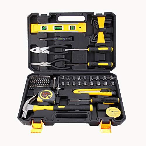 Werkzeugset, Werkzeug-Set, 78-teilig, DIY Haushalts-Handwerkzeug, mit Kunststoff-Werkzeugkoffer, Aufbewahrungskoffer, für Zuhause, Büro, Schuppen, Garage, Fahrrad, Auto,Test Reparatur Wartung