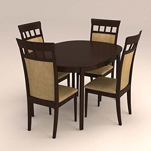 Oval Dinning Set With 4 Seater High Back Cushioned Chair