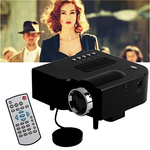LESHP Mini UC28+ Beamer Heimkino Projektor Led HD 1080P AV/USB/VGA/HDMI für Xbox / iphone / Smartphone / PC schwarz