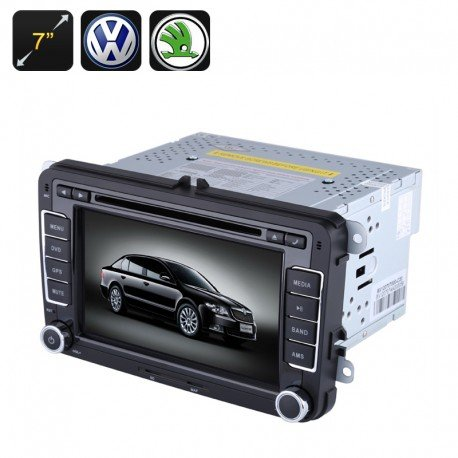2DIN Car DVD Player–7Zoll Display, GPS, Bluetooth, Region Free, FM Radio, für VW + SKODA Autos