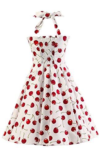 Eudolah Robe patineuse dos nu avec bretelles a motif fleurs robe classique vintage style des annees 50 Hepburn a encolure en coeur soiree festival Ecru Fleur L-U