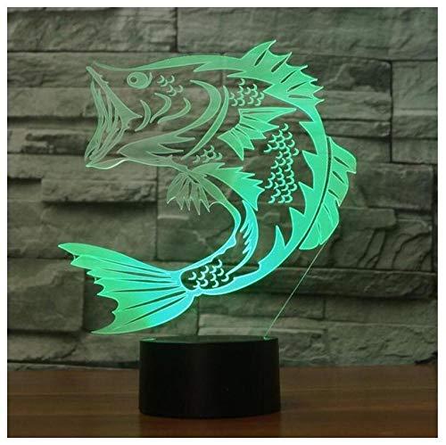 Led Nachtlicht 3D Kinder Illusion Stimmung Lampe Nachttischlampe Touch Schalter Acryl Langlebig Starke Atmosphäre Tisch Geburtstag Fisch Anruf (3497 Led-lampe)
