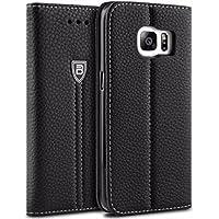Coque Galaxy S7 Edge, BEZ® Coque Housse Pochette Samsung Galaxy S7 Edge (2016), Portefeuille Étui de Protection en Faux Cuir avec Porte-Cartes de Crédit, Support, Fermeture Magnétique - Noir