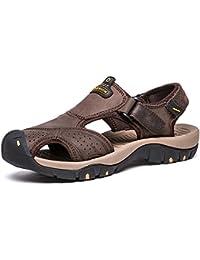 Sandalias de Vilocy, de piel, para senderismo, con puntera cerrada, de verano para hombre
