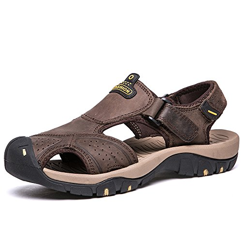 VILOCY Mens Summer Sports Sandals Leather Closed-toe Outdoor Sandals Trekking Shoes Dark Brown UK9