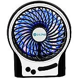 VersionTech ventilador portatil recargable, ventilador electrico USB para escritorio, oficina, coches, dormitorio (3 velocidades, con luz LED-Negro)