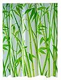 Spirella Bambus Textil-Duschvorhang Polyester 240 x 180 cm, Weiß/Grün