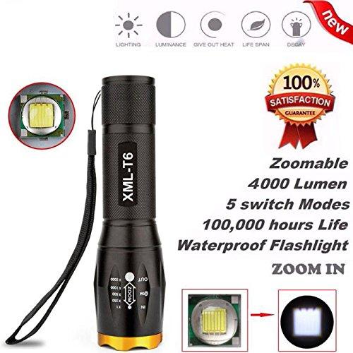 TopTen Fan-Motive Tactical Taschenlampe, 4000Lumen 5Leuchtmodi zoomable Camping LEDs Licht Taschenlampe für Angeln Jagd Wandern und Outdoor Aktivitäten