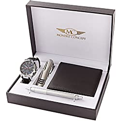 Montre Concept CCPA765-ORANGE-FONCE Men's Watch, with Multi-function Knife, Wallet and Pen Gift Set, Dark Orange