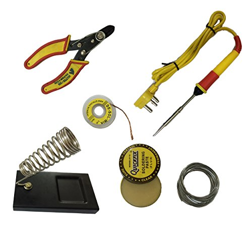 Generic 6 in1 Electric Soldering Iron Stand Tool Wire Stripper Kit 25 Watt Welding Stick Set  available at amazon for Rs.195