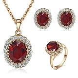 Yoursfs Prinzessin Kate Style Rote Rubin Ohrring Halskette und Ring Set mit 18K Gold Überzogene für Damen Frauen Mädchen
