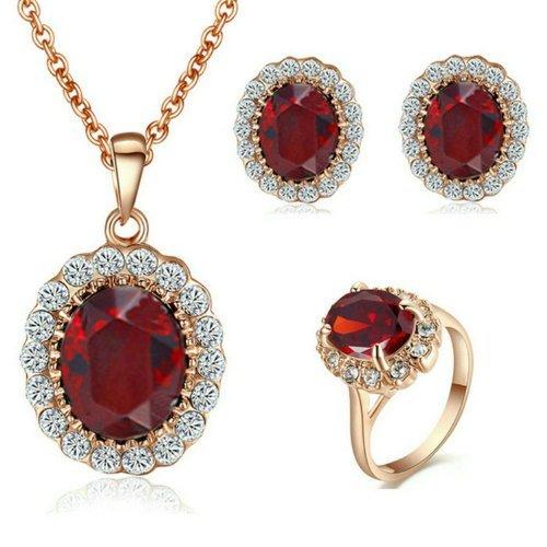 Yoursfs oval cristal blanco y rojo 18k chapado en oro con pendientes collar y anillo tamaño 15, de regalo de San Valentín