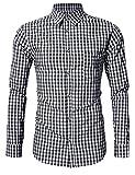 KoJooin Trachten Herren Hemd Trachtenhemd Langarmhemd Freizeithemd Baumwolle - für Oktoberfest, Business, Freizeit (XXL / 42, Schwarz)