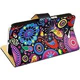 étui CUIR Coque Housse Flip Fleur Colorée Cover Pour Samsung Galaxy Note 2 N7100